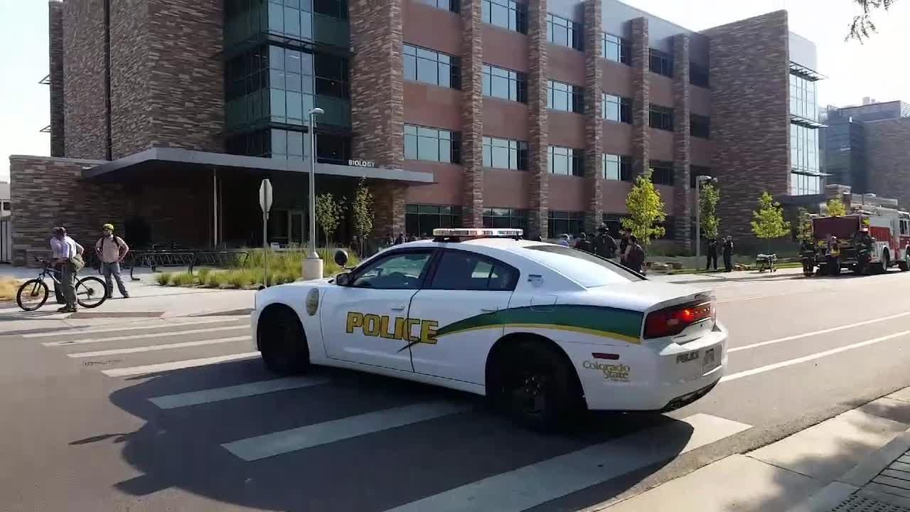 A first look at the scene where CSU police and Poudre Fire Authority investigated a hazmat call at the Biology building on campus Wednesday night.