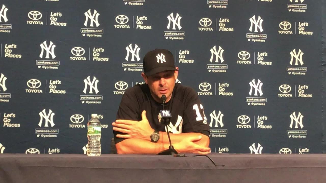 Yankees' manager Aaron Boone tries to decipher the mistakes Luis Cessa made in his loss to the Tampa Bay Rays.