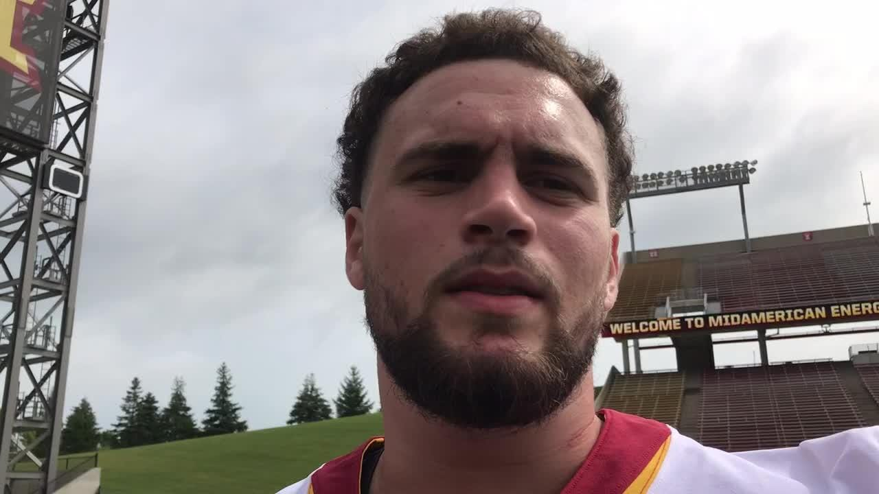 Julian Good-Jones has played center, right tackle and guard. Will he play all five offensive line positions in an Iowa State game? He says he'd be up for it.