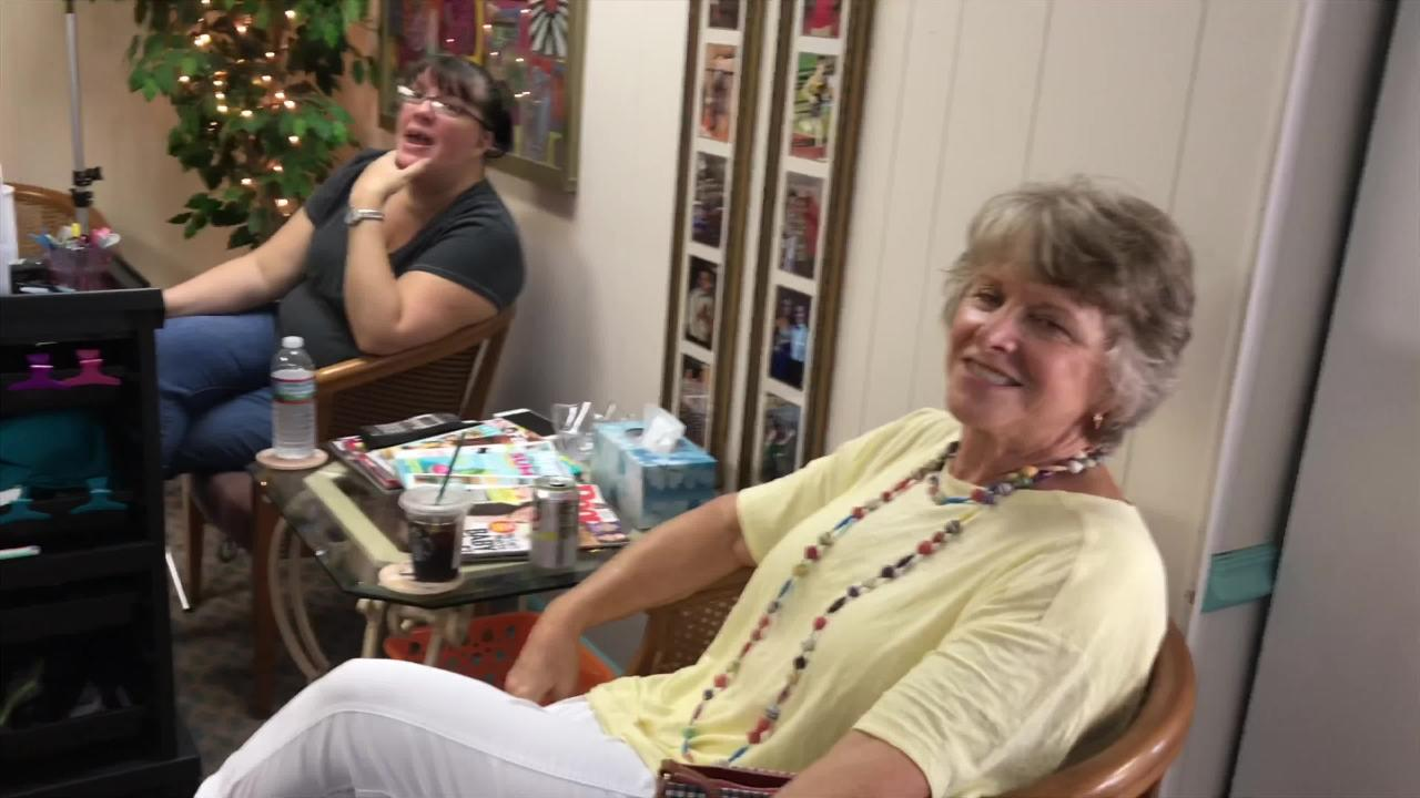 Diana Montgomery has been cutting hair for some customers for nearly 50 years.