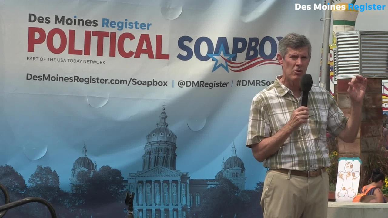 Fred Hubbell, Democratic candidate for governor, talks about his work at Younkers during the farm crisis at the Register Soapbox.