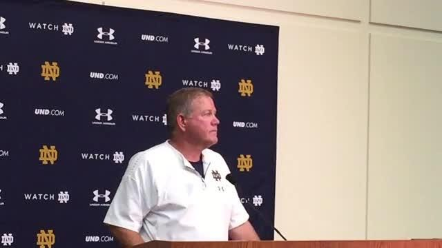 Notre Dame football coach Brian Kelly reveals what is different about the Irish QB situation from last year at this time.