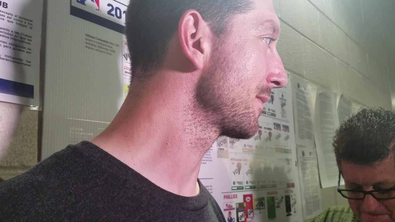 Mets lefty reliever Jerry Blevins discusses his first career hit