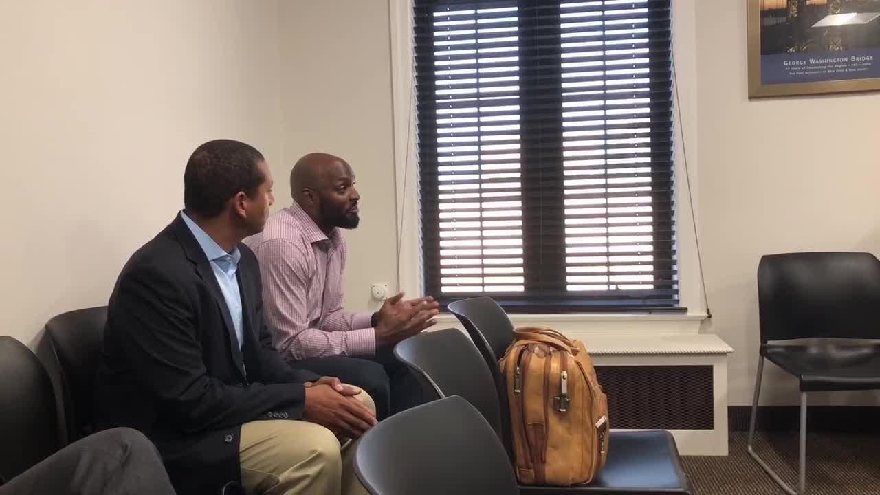 Former New York Giant Amani Toomer speaks to the Fort Lee council on Aug. 16 about opening a medical marijuana dispensary in town.