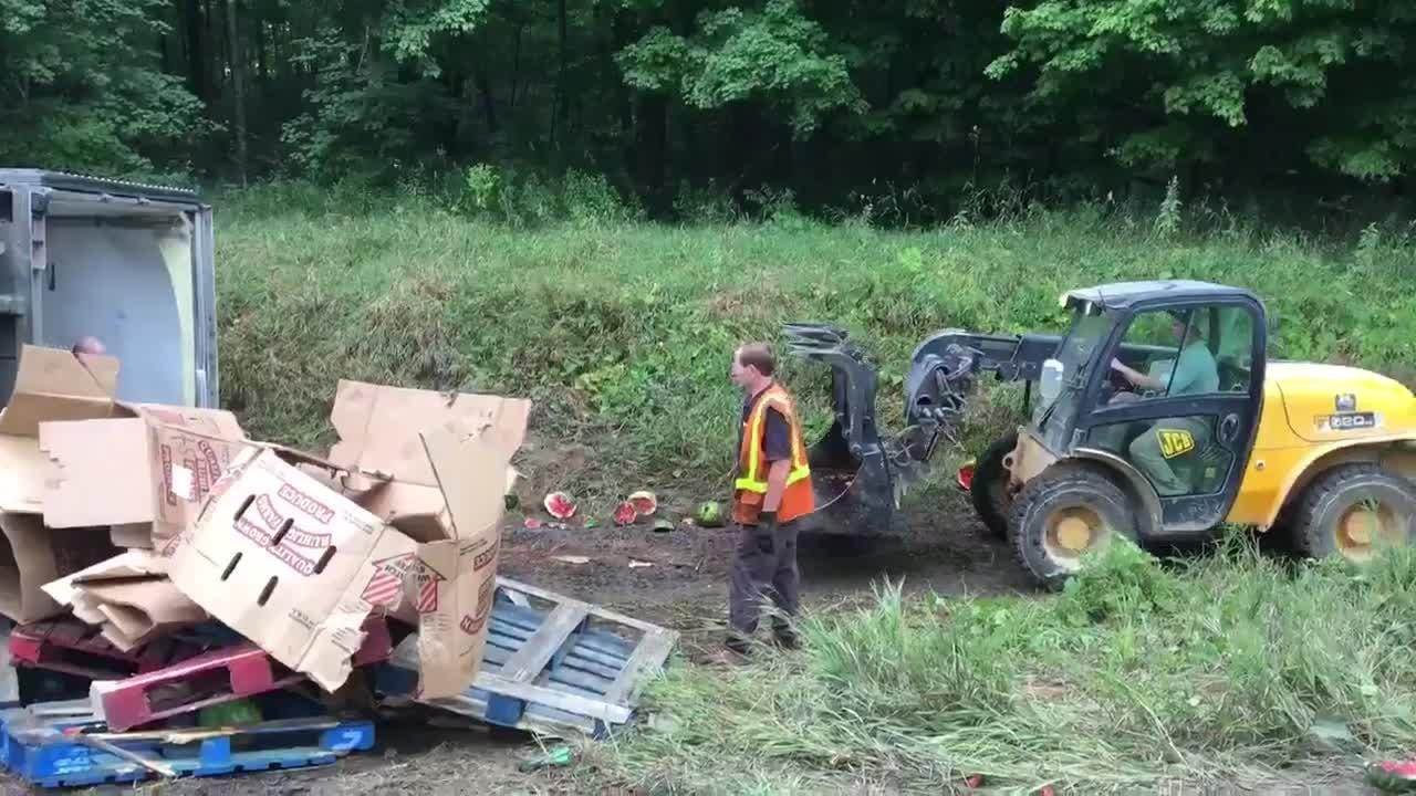 Crash spills hundreds of watermelons along I-96 in Ingham County