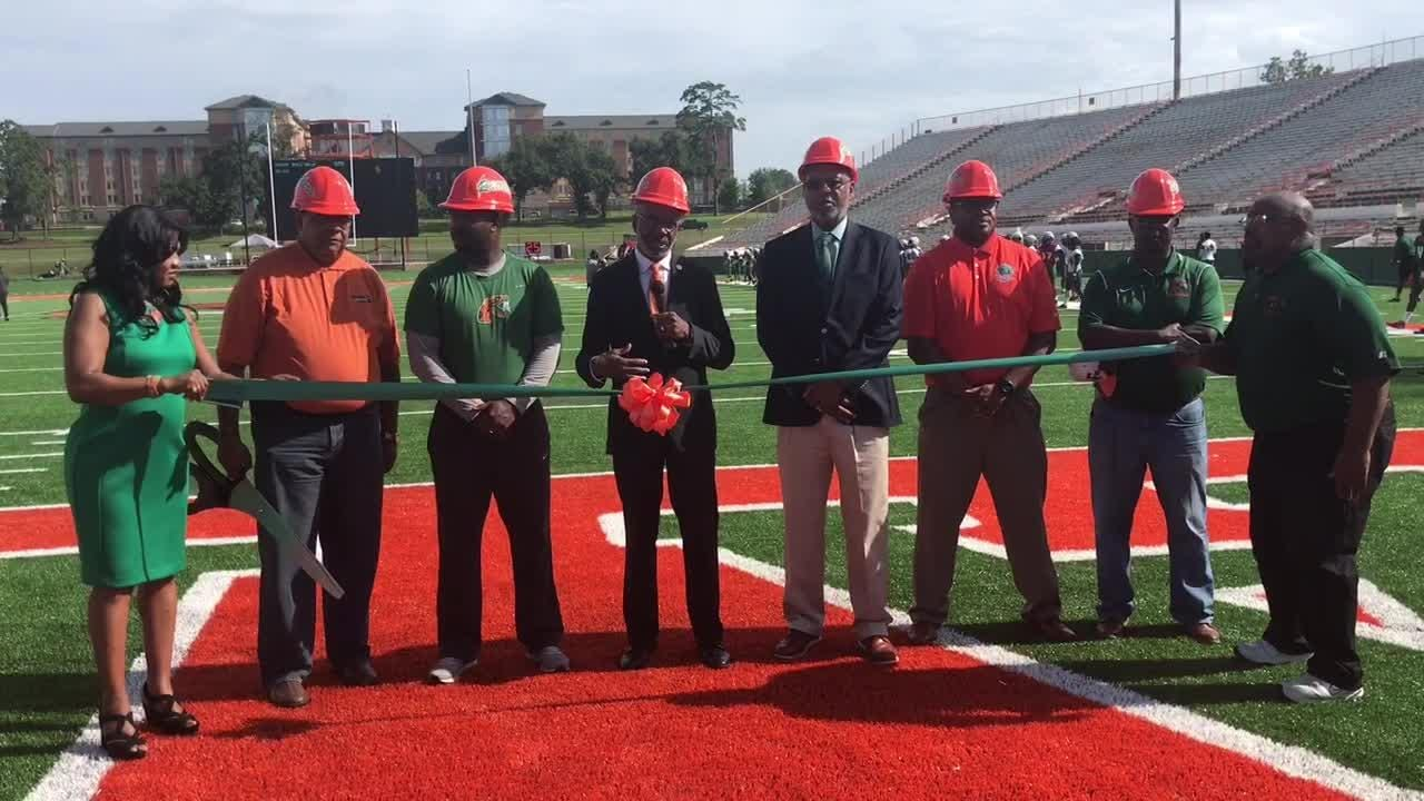 WATCH: FAMU president Dr. Larry Robinson speaks at the ribbon-cutting ceremony for the completion of the turf installation at Bragg Memorial Stadium.