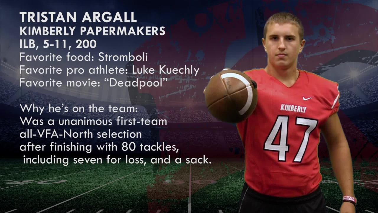 Meet Tristan Argall, ILB, Kimberly Papermakers.