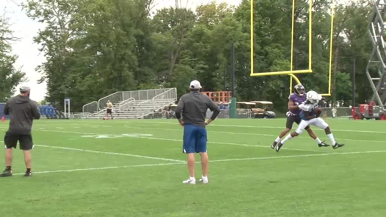 The Indianapolis Colts practiced Friday against the Baltimore Ravens in heavy rain.