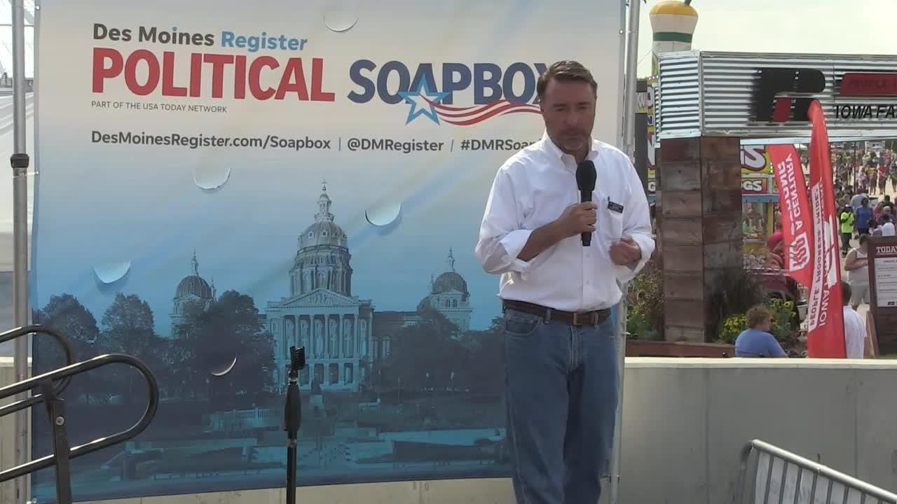Republican Christopher Peters speaks at The Des Moines Register Political Soapbox