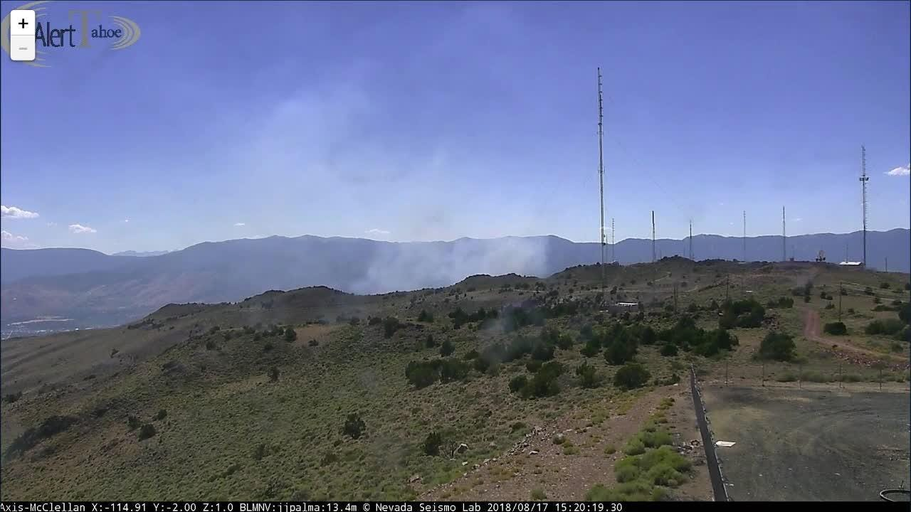 Video of smoke billowing from a fire burning in Washoe Valley on August 17, 2018.