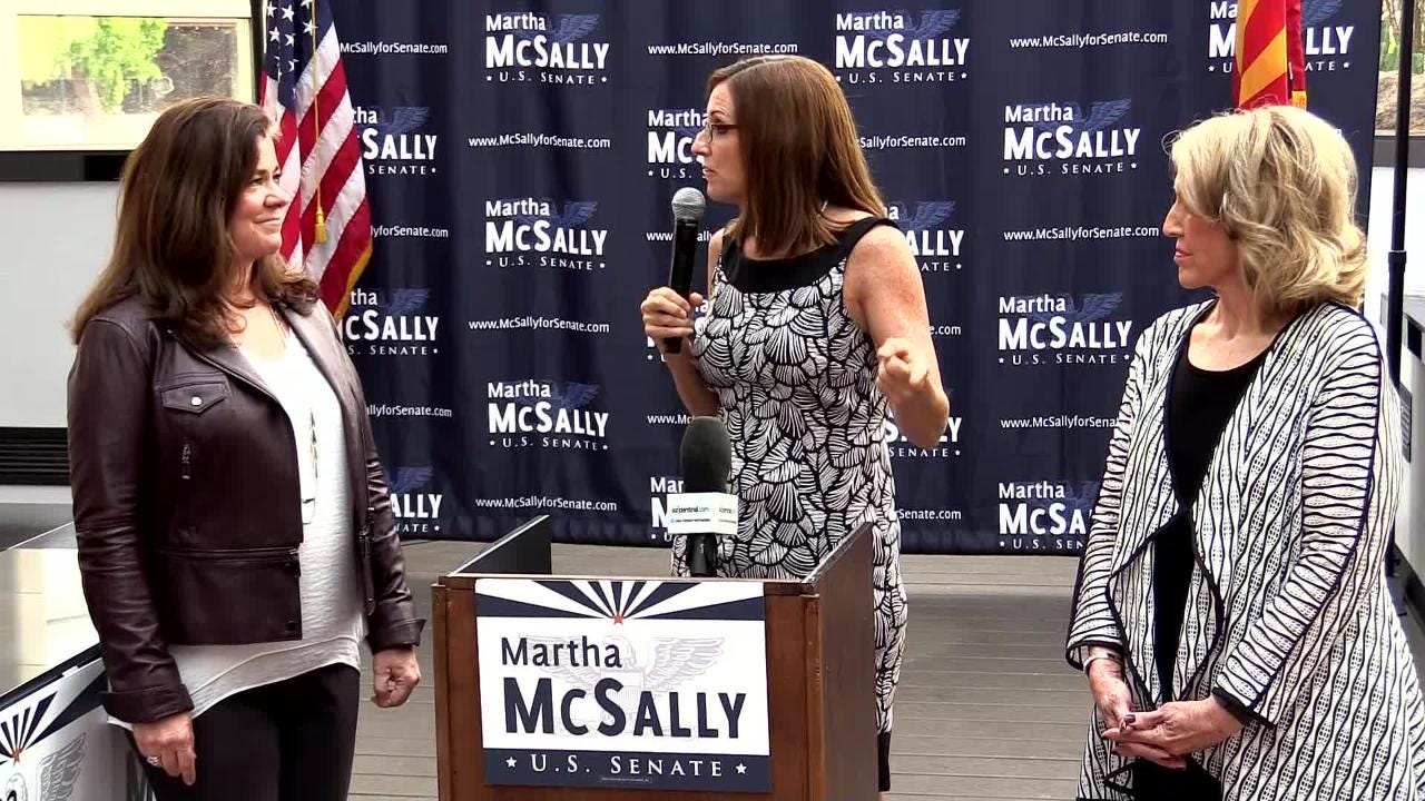 Rep. Martha McSally announces a coalition of women for her U.S. Senate primary run. Lynn Londen, CEO of AZTV7 Media, and former Gov. Jan Brewer watch.