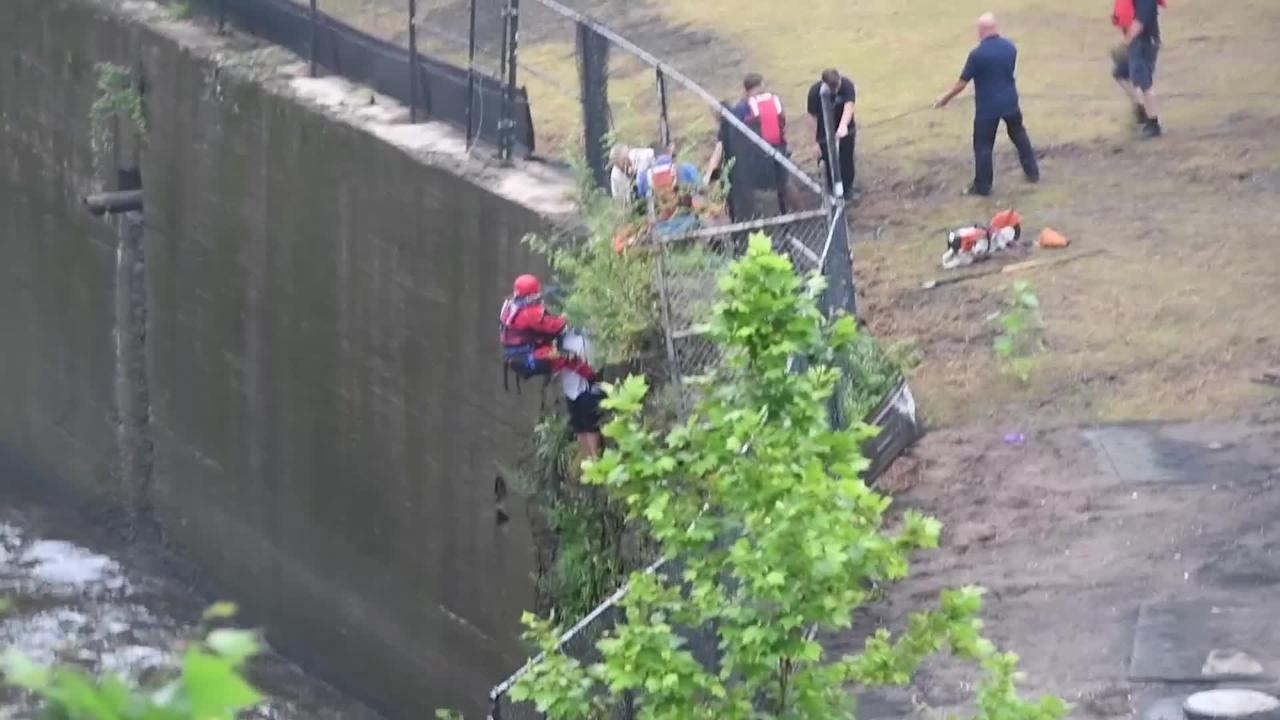 Man rescued from base of Paterson Great Falls on Saturday, August 18, 2018.