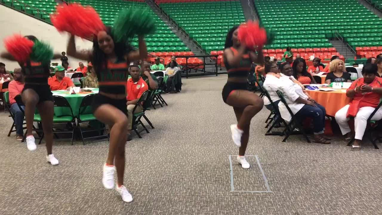 WATCH: Cheerleaders Makayla Bryant (left), Taliah Quayim (center) and Kyra Newby (right) entertain guests at the Rattler Boosters' kickoff luncheon.