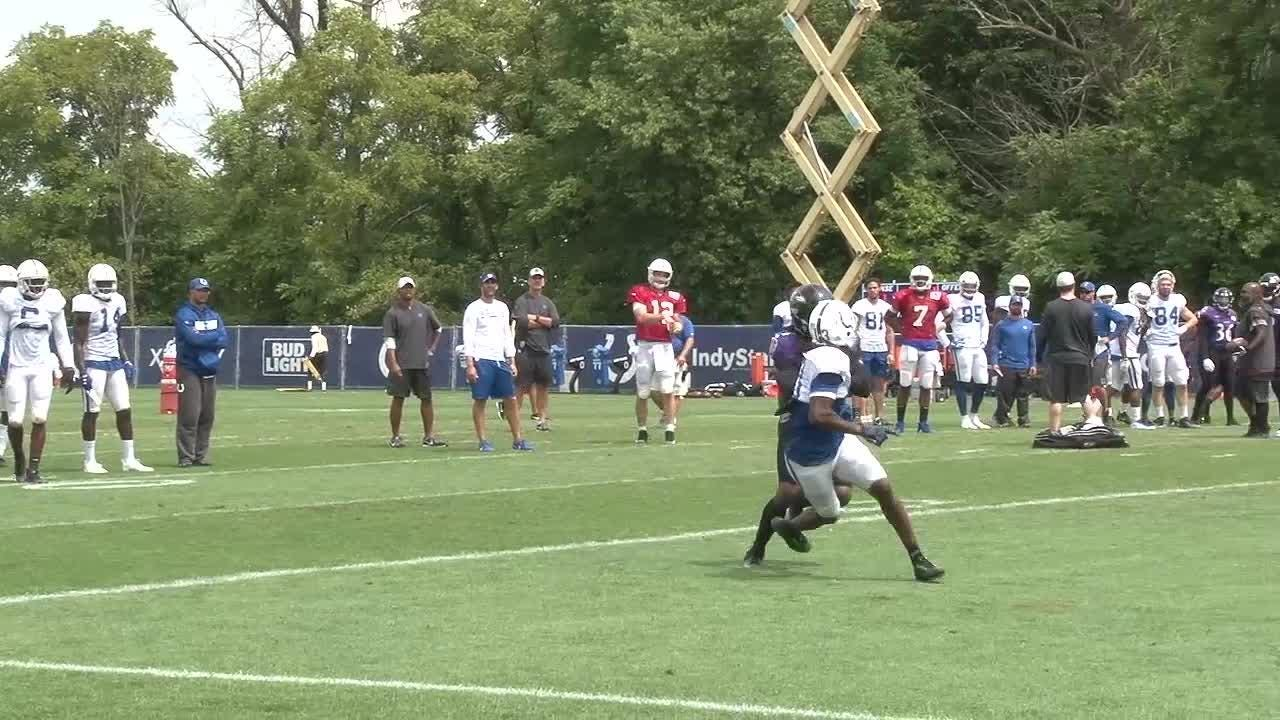 The Indianapolis Colts wrap up training camp with fights, sloppy practice with Ravens.