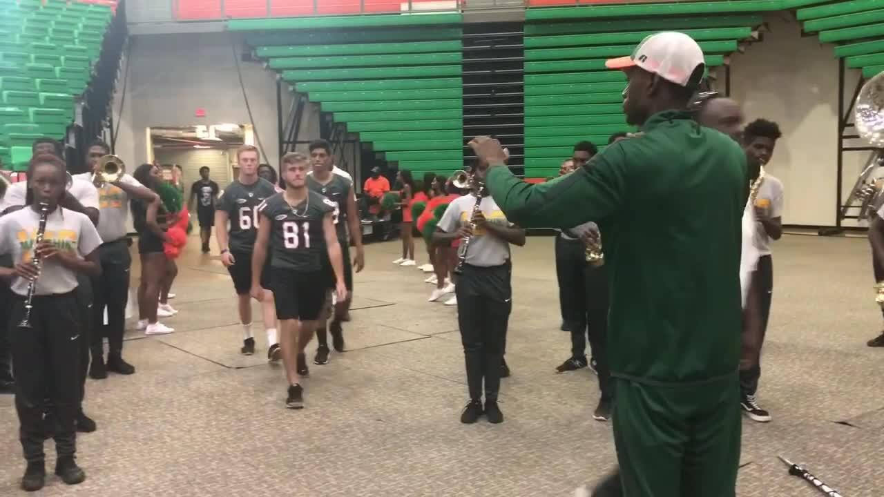 WATCH: The FAMU Marching 100 provides the soundtrack as the Rattlers walk inside the Lawson Center.