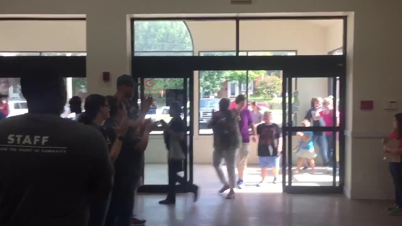Volunteers and staff at the Brandywine SPCA New Castle shelter welcomed their first adopters Saturday morning.