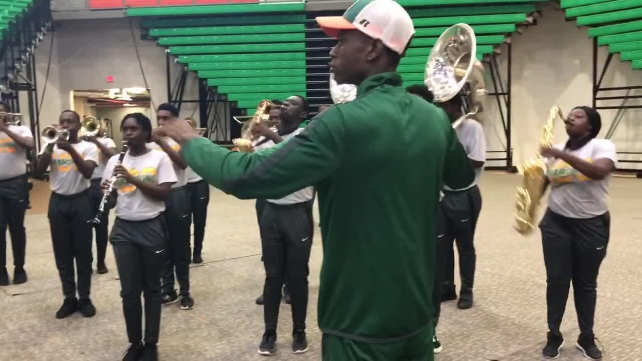 WATCH: The Marching 100 give the crowd a taste of things to come this season with their symphonic tunes at the Rattler Boosters kickoff luncheon.
