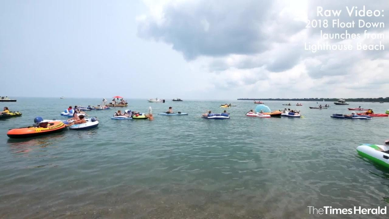 Float Down participants launch from Lighthouse Beach Sunday, Aug. 19, 2018, for the annual Float Down event.
