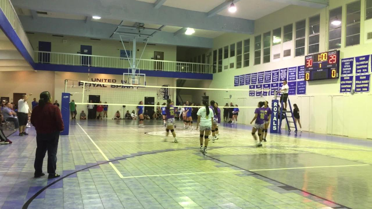 The Notre Dame Royals clashed with the George Washington Geckos for their Independent Interscholastic Athletic Association of Guam Girl's High School Volleyball season opener at the Notre Dame High School Gym, Aug. 21, 2018.