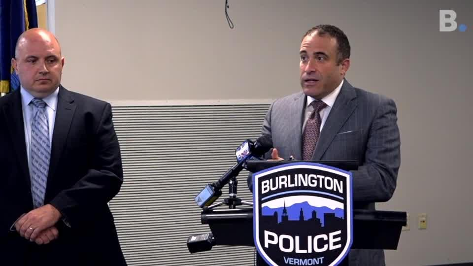Burlington Police Chief Brandon del Pozo gives new information on Monday, Aug. 20, 2018, about Feb. shooting on Main Street outside Nectar's.