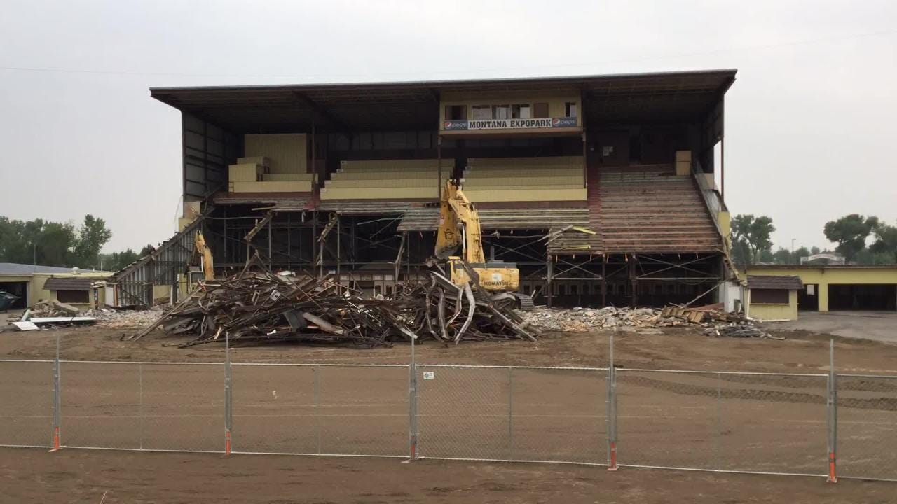 A time lapse video of the first ten hours of the Montana ExpoPark grandstands demolition.
