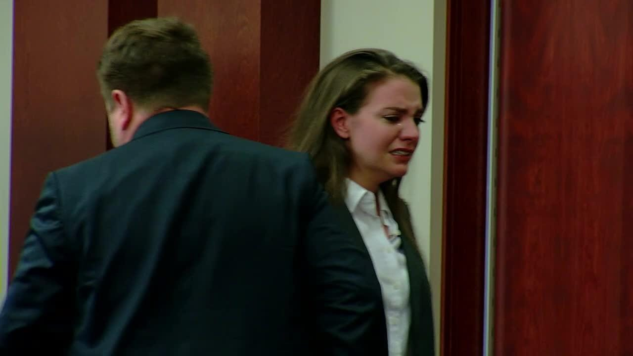 Shayna Hubers started crying in court Tuesday after it was determined new testimony would be introduced to her retrial.