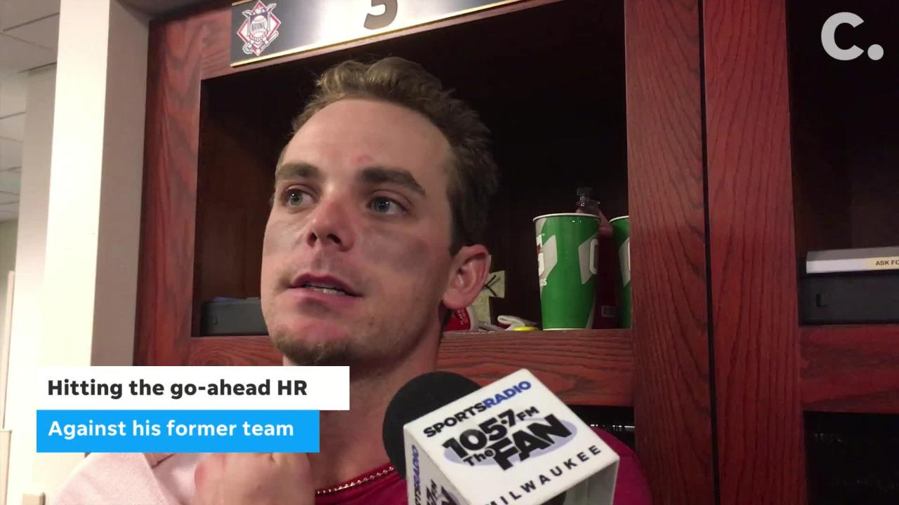 Reds second baseman Scooter Gennett discusses his go-ahead, ninth-inning home run against the Milwaukee Brewers on Tuesday. The Reds won 9-7.