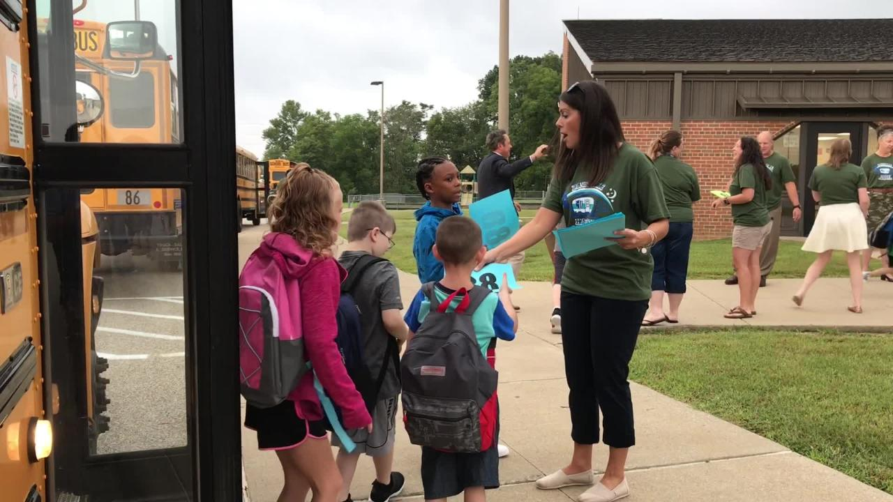 National Road Elementary teachers welcome students back to the first day of school.