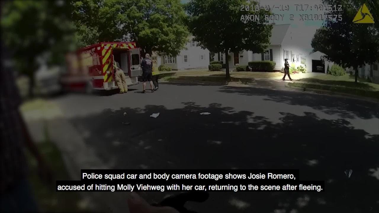 Police squad car and body camera footage shows Josie Romero, accused of hitting Molly Viehweg with her car, returning to the scene after fleeing.