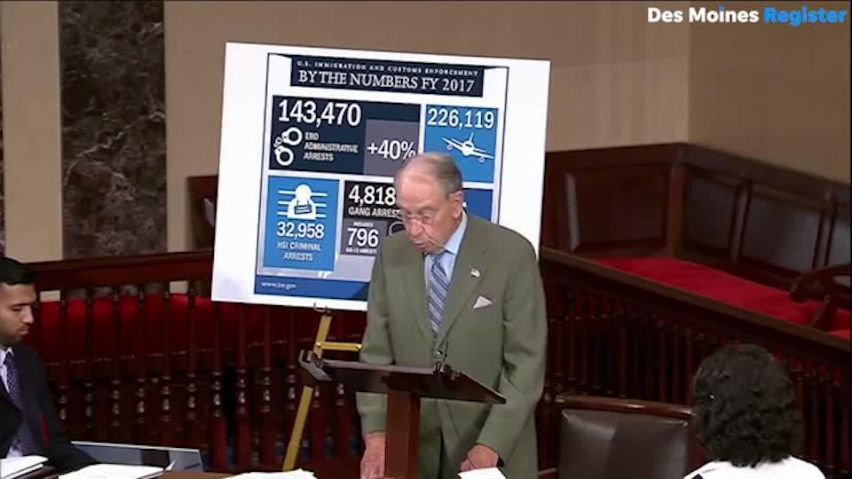 Sen. Chuck Grassley offers condolences for the family of Mollie Tibbetts and calls for secure border on the floor of the U.S. Senate.