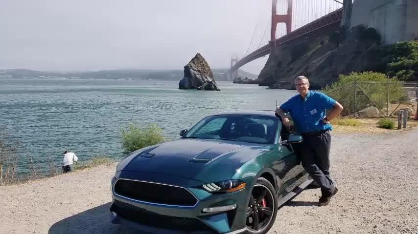 "Henry Payne drives the 2019 Mustang Bullitt on the San Francisco route driven by Steve McQueen 50 years ago in the original ""Bullitt."""