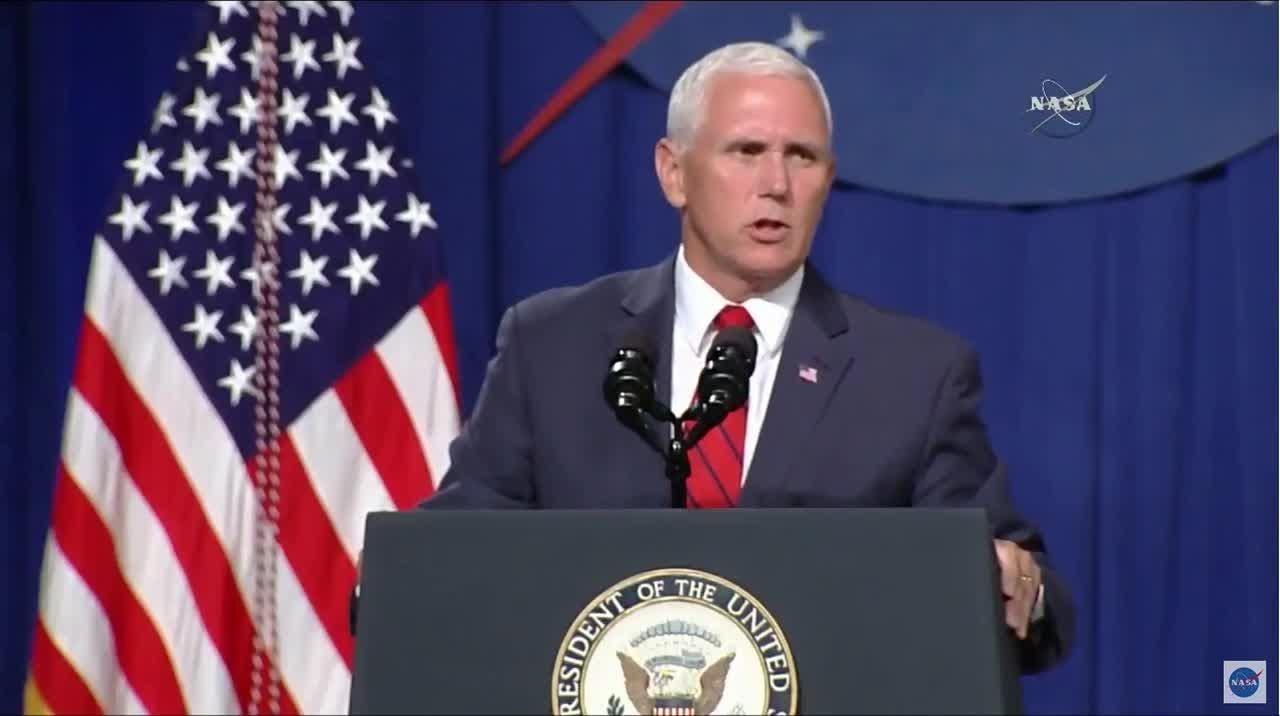 Vice President Pence speaks at NASA's Johnson Space Center on Thursday, Aug. 23, 2018.