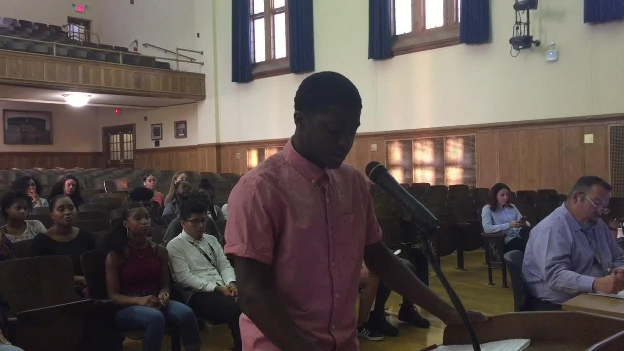 Vineland High School student-athlete  Quajon Kinsey urged the school board to spare the winter track program from elimination due to budget cuts.