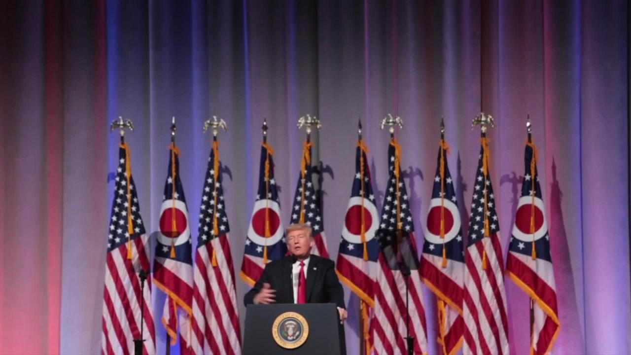 President Trump speaks at the Ohio GOP dinner