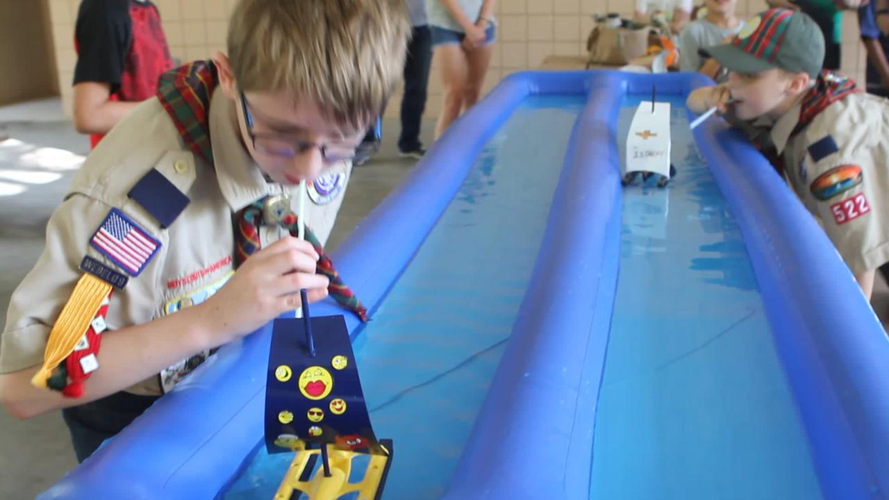 Isaac Hopkins and Ross Gronau practice for Saturday's Cub Scout Pack 522 Raingutter Regatta.