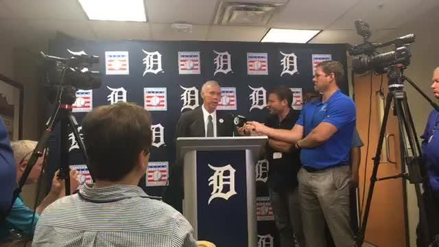 Detroit Tigers great Alan Trammell speaks to the media after having his No. 3 retired by the team on Sunday, Aug. 26, 2018, at Comerica Park.