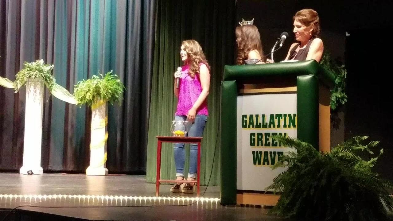 Miss Gallatin Chloe Hubbard answers question about political controversy during the pageant.