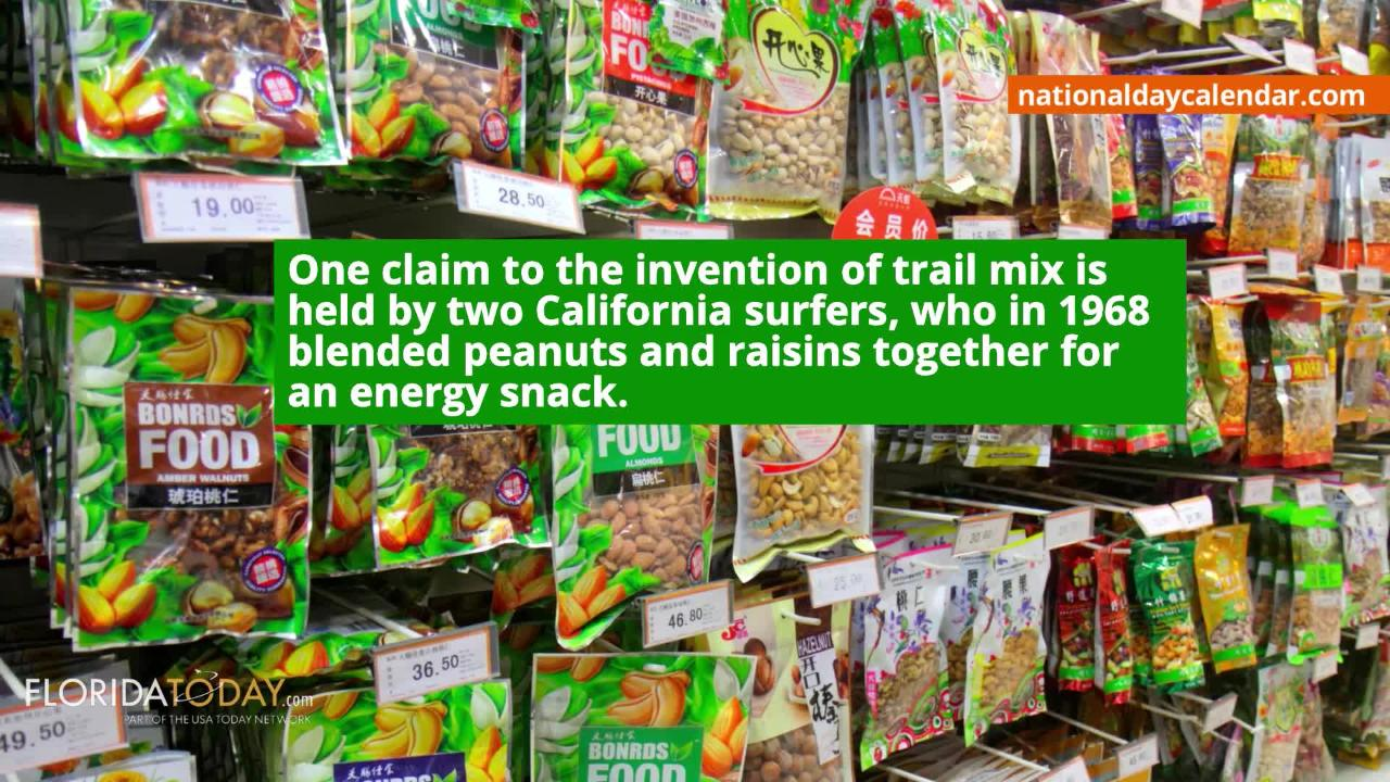 Keep your snacks on the healthier side on Aug. 31st, its National Trail Mix Day