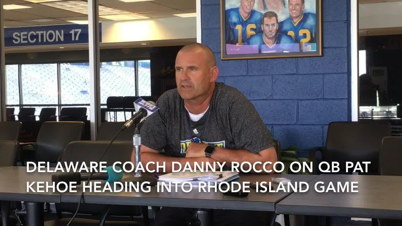 Coach Danny Rocco discusses QB Pat Kehoe's role heading into Delaware football opener vs. Rhode Island