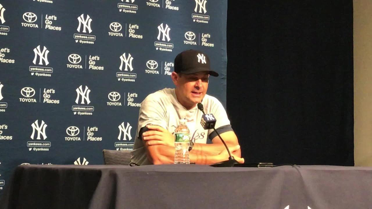 Boone updates the statuses of injured catcher Gary Sanchez and shortstop Didi Gregorius.