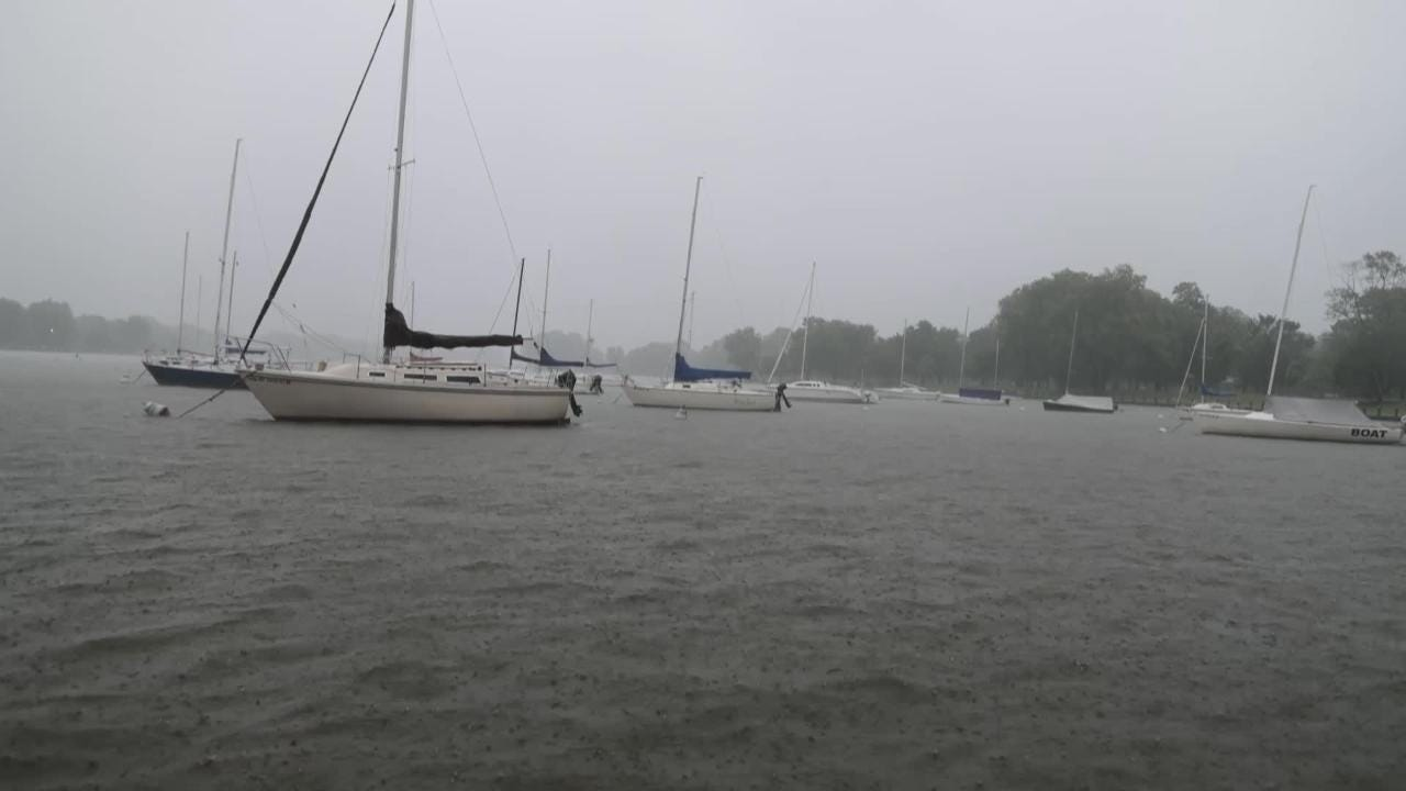 Time-lapse of boats weathering a storm in the harbor at Riverside Park in Neenah, Wis.