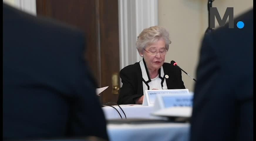Governor Kay Ivey speaks as the Federal Commission on School Safety meets  at the capitol building in Montgomery, Ala., on Tuesday August 28, 2018.