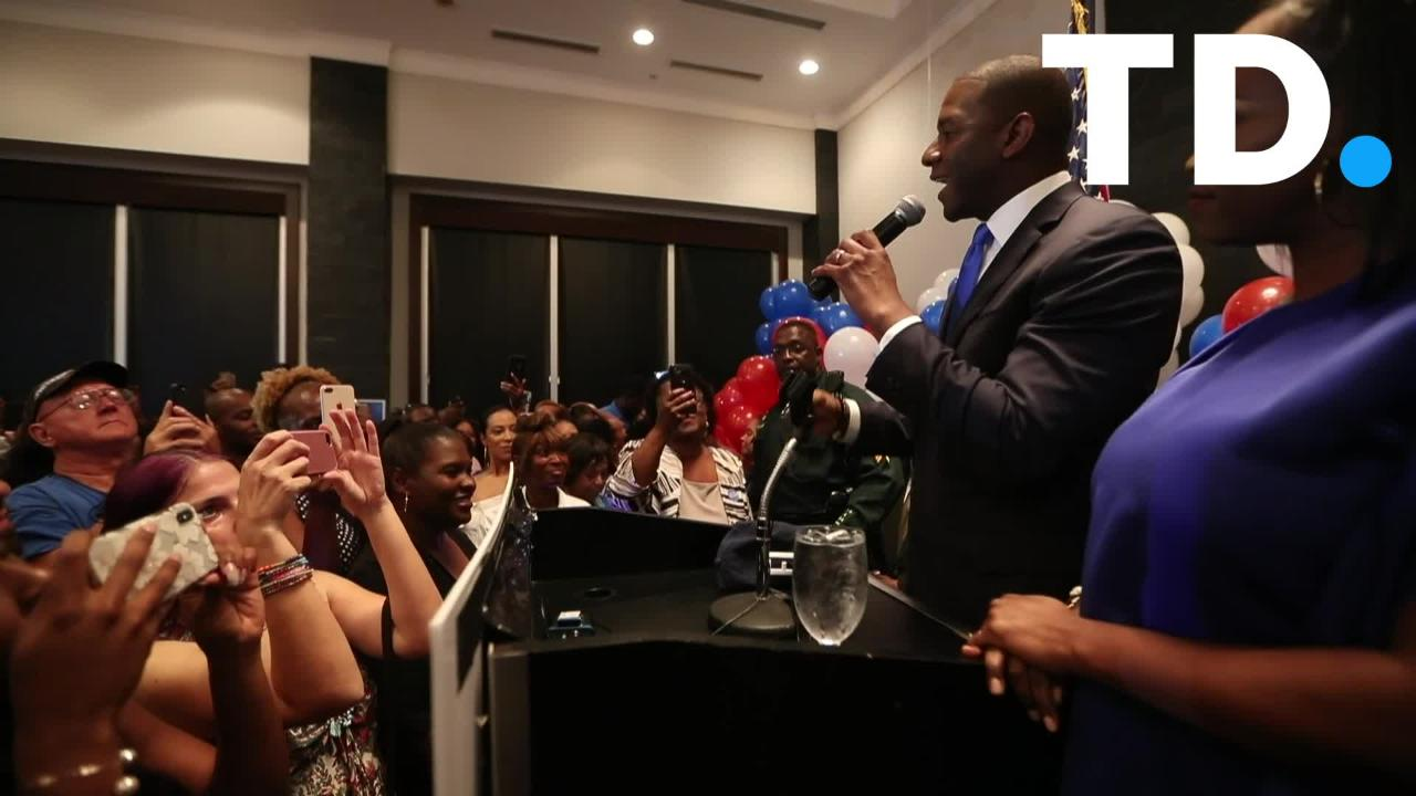 Andrew Gillum celebrates his victory as he wins the Democratic nomination for Governor