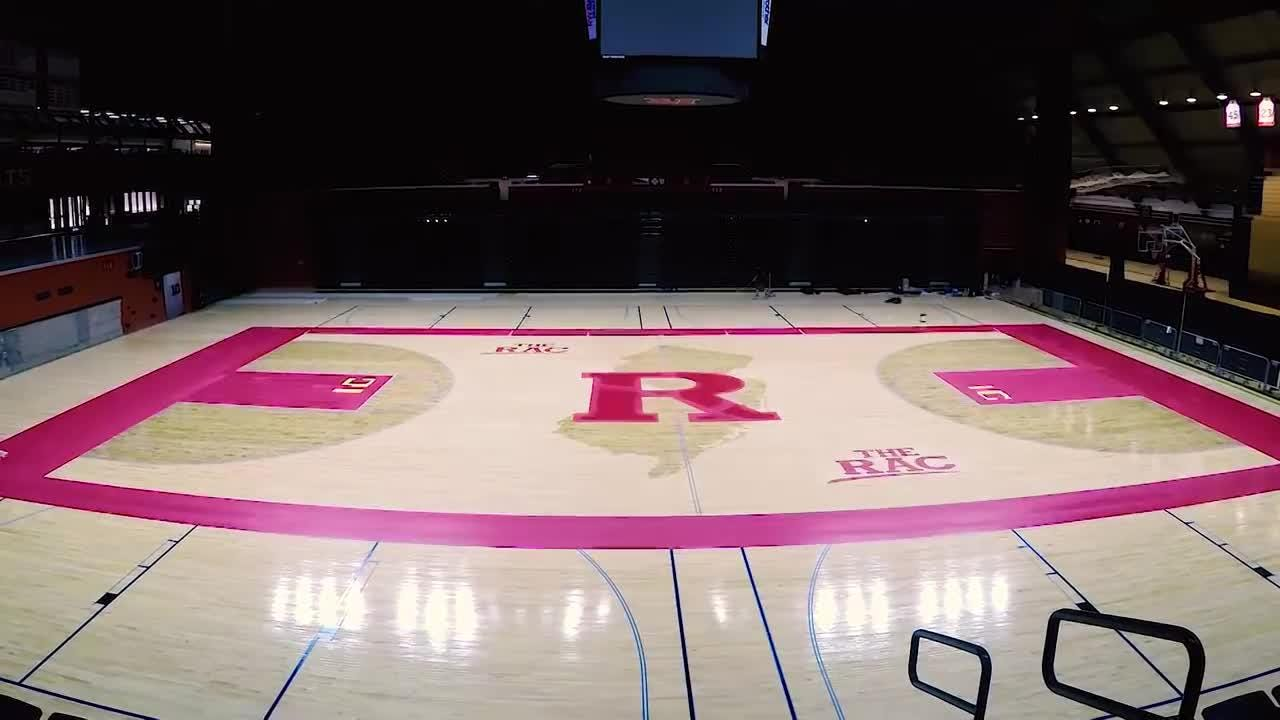 Time lapse of new Rutgers basketball court