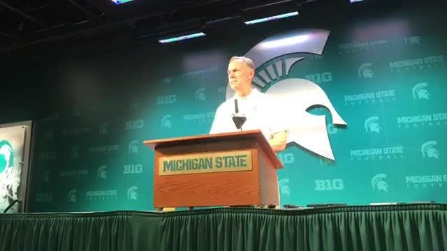 Michigan State football coach Mark Dantonio meets with media after the Spartans' 38-31 win over Utah State on Aug. 31, 2018.
