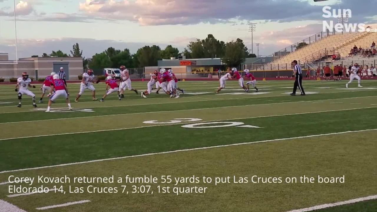 Eldorado beat Las Cruces 70-42 Friday night at the Field of Dreams.