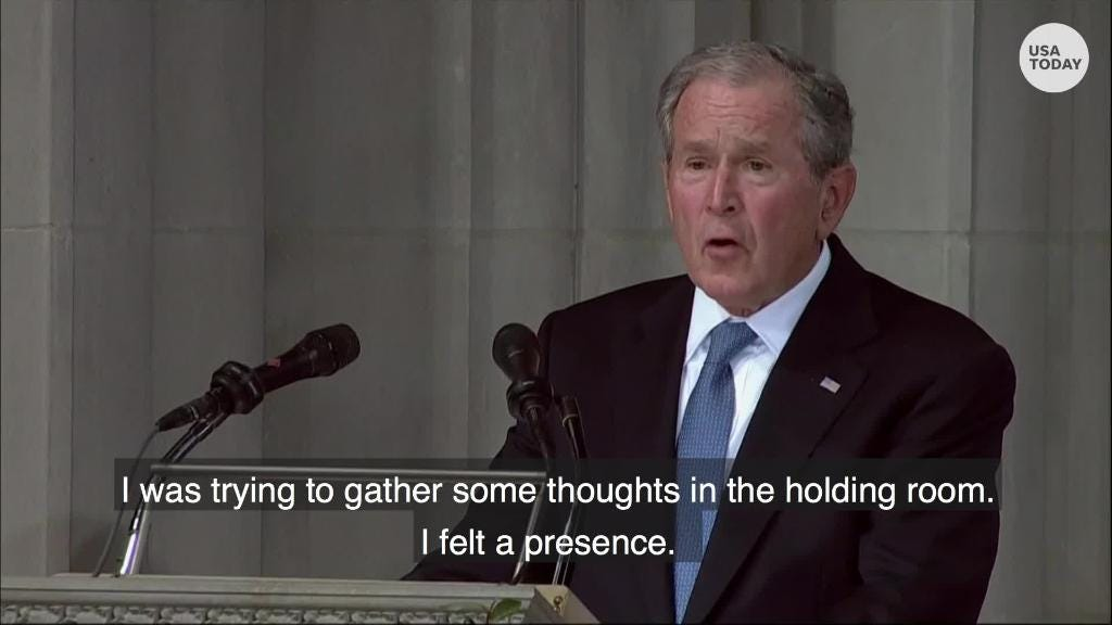 George W. Bush discusses his rivalry with John McCain in eulogy