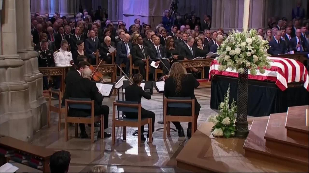 Cindy McCain weeps during powerful rendition of 'Danny Boy' at John McCain funeral