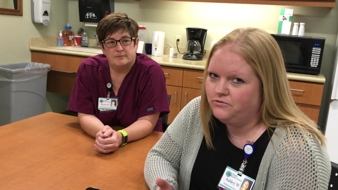 Eaton Rapids Medical Center employees Ashley Wing and Kristy Orr talk about the moment one saved the other while at work this summer.