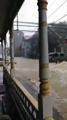 Torrential rains Friday overwhelmed Schaefferstown's main streets, as shown on this video provided by Gretta Stuber.